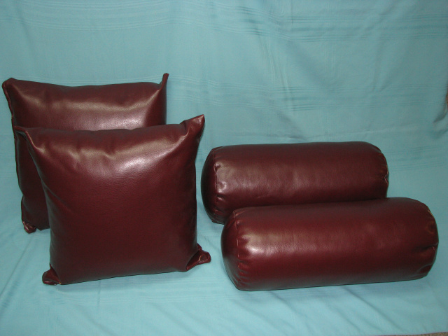 (4) NEW LEATHER PILLOWS / Burgundy Couch   (# B-2950)